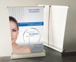 signalétique roll up dépliants esthéticiennes institut de beauté coiffure Pixellecom