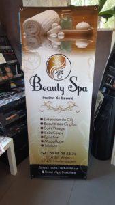 signalétique x banner dépliants esthéticiennes institut de beauté coiffure Pixellecom